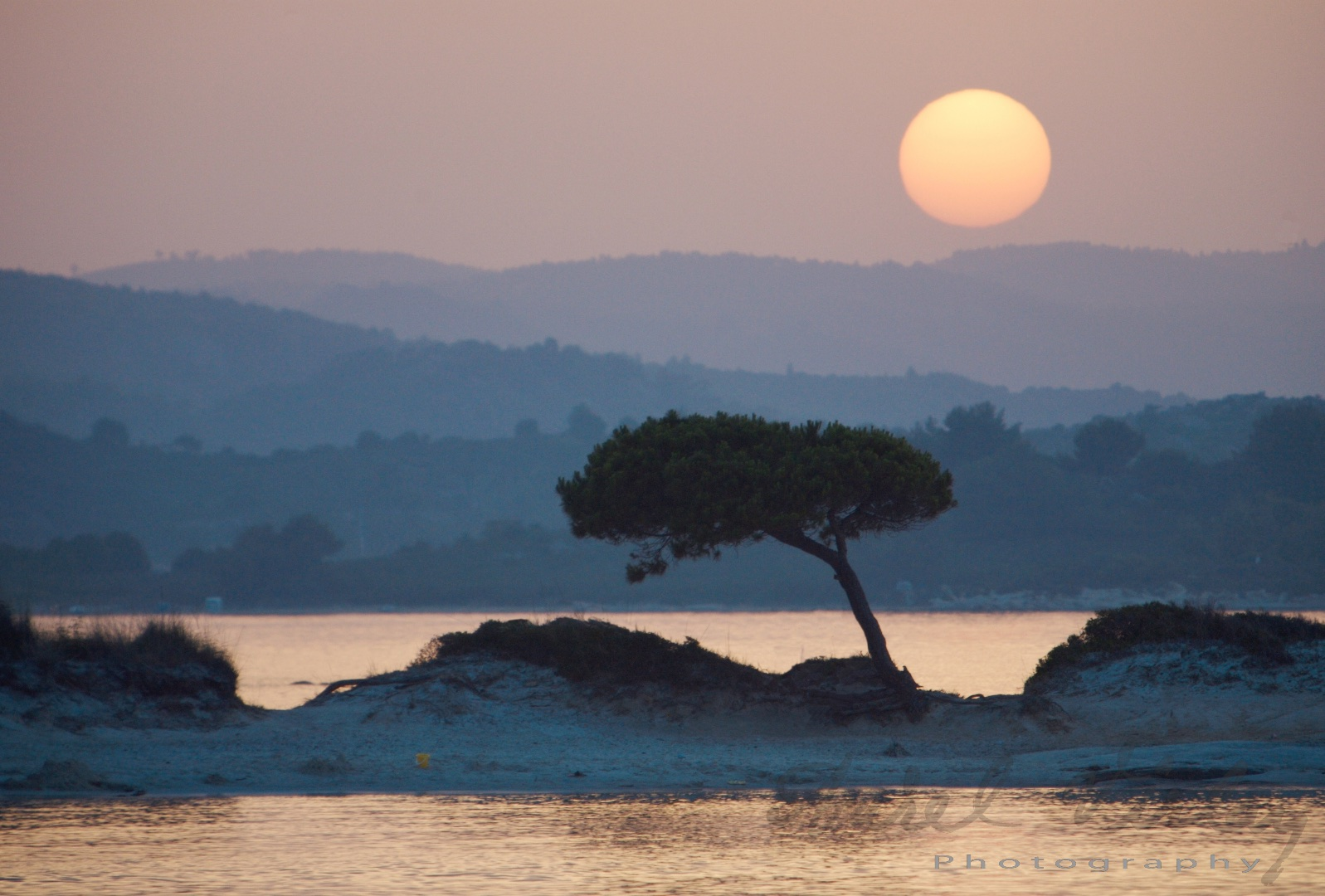 Sunset over tree in Greece. Landscape by Aurel Virlan Photography