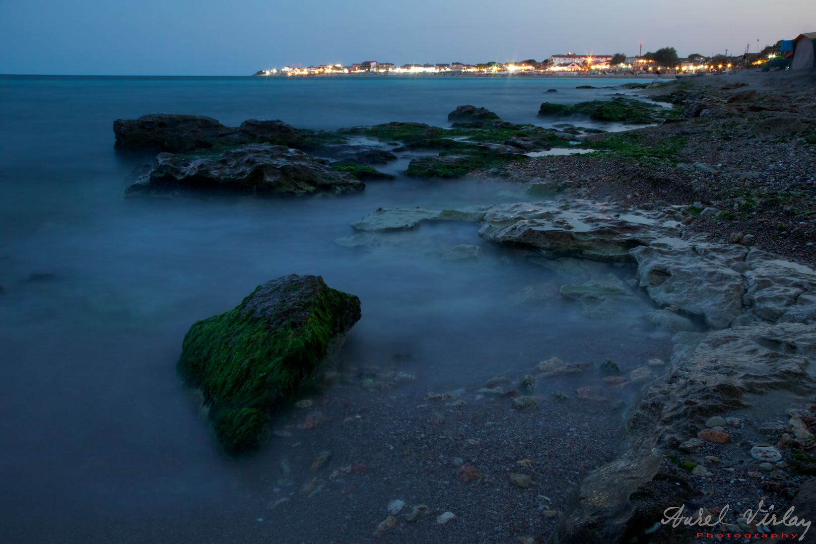 Blue hour over Vama Veche and Black Sea.