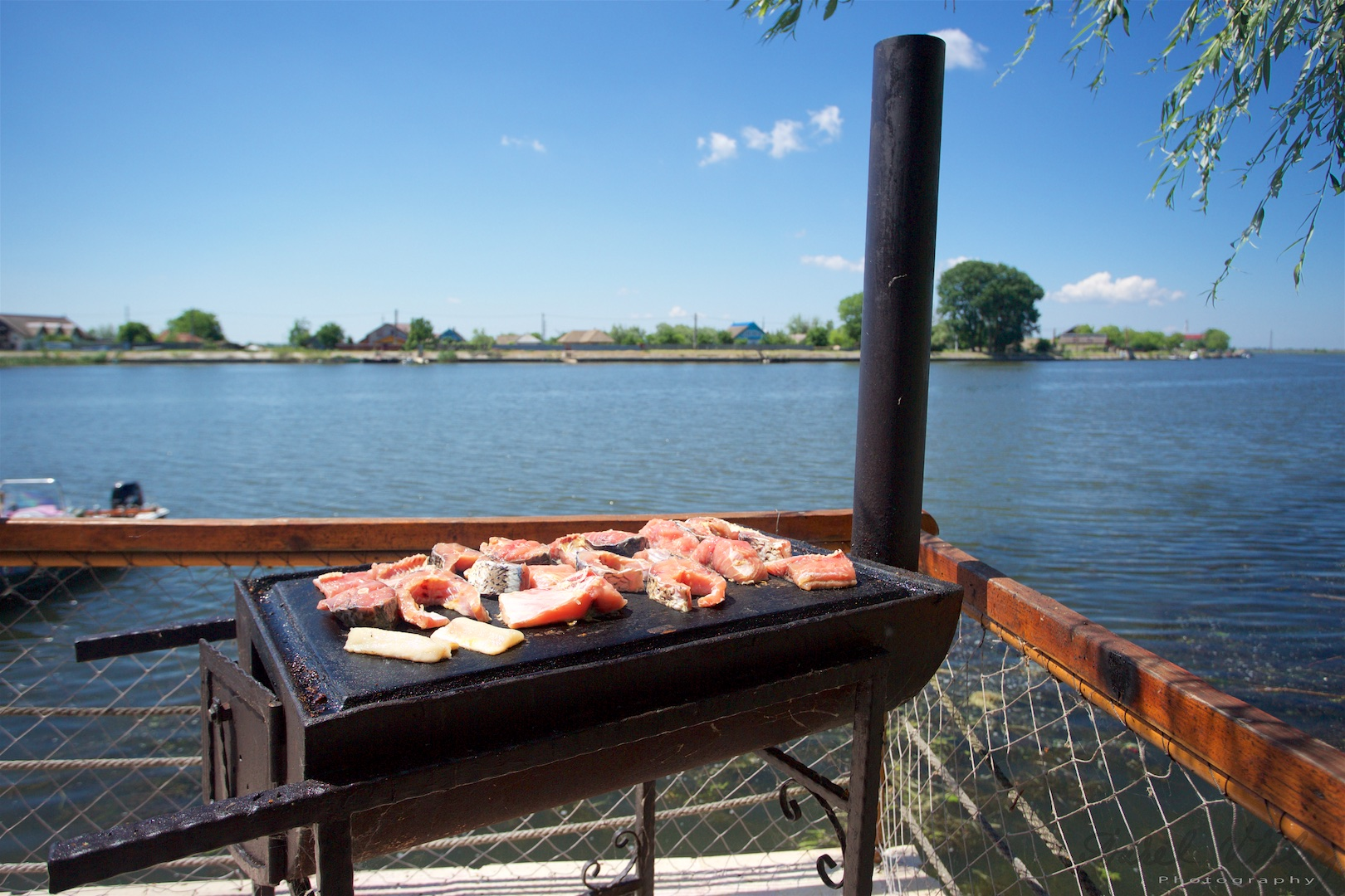 Hob and stove pipe for frying fish in Danube Delta