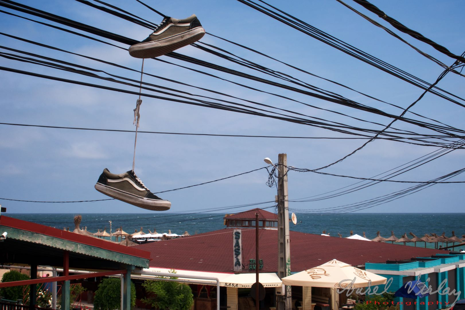 Goodbye, my dear Vama Veche. Glamorous shoes on the cables.