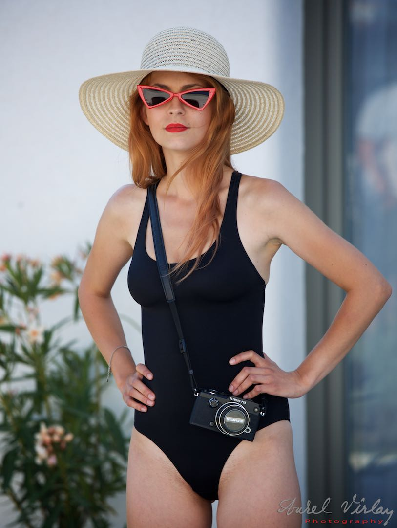 Black and white hat and swimsuit.